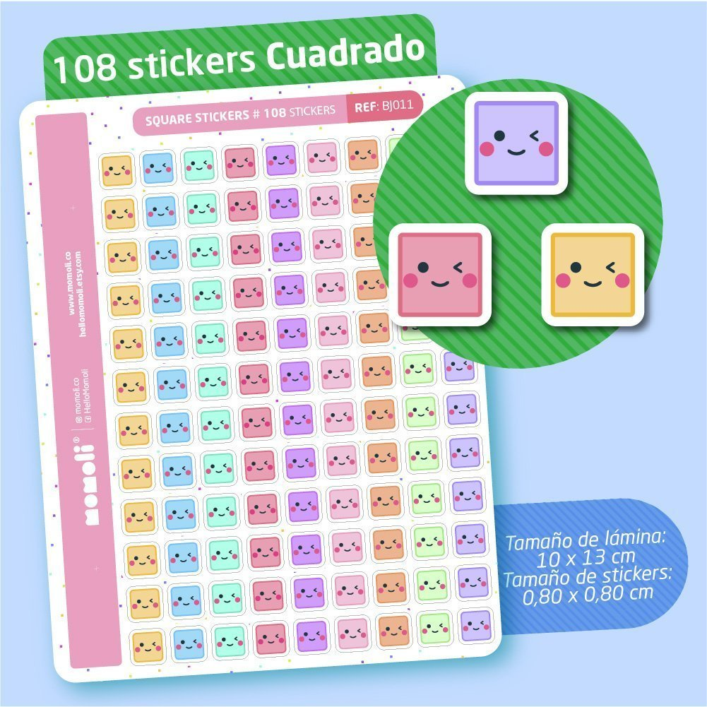 Lámina de micro stickers CUADRITOS (BJ011)