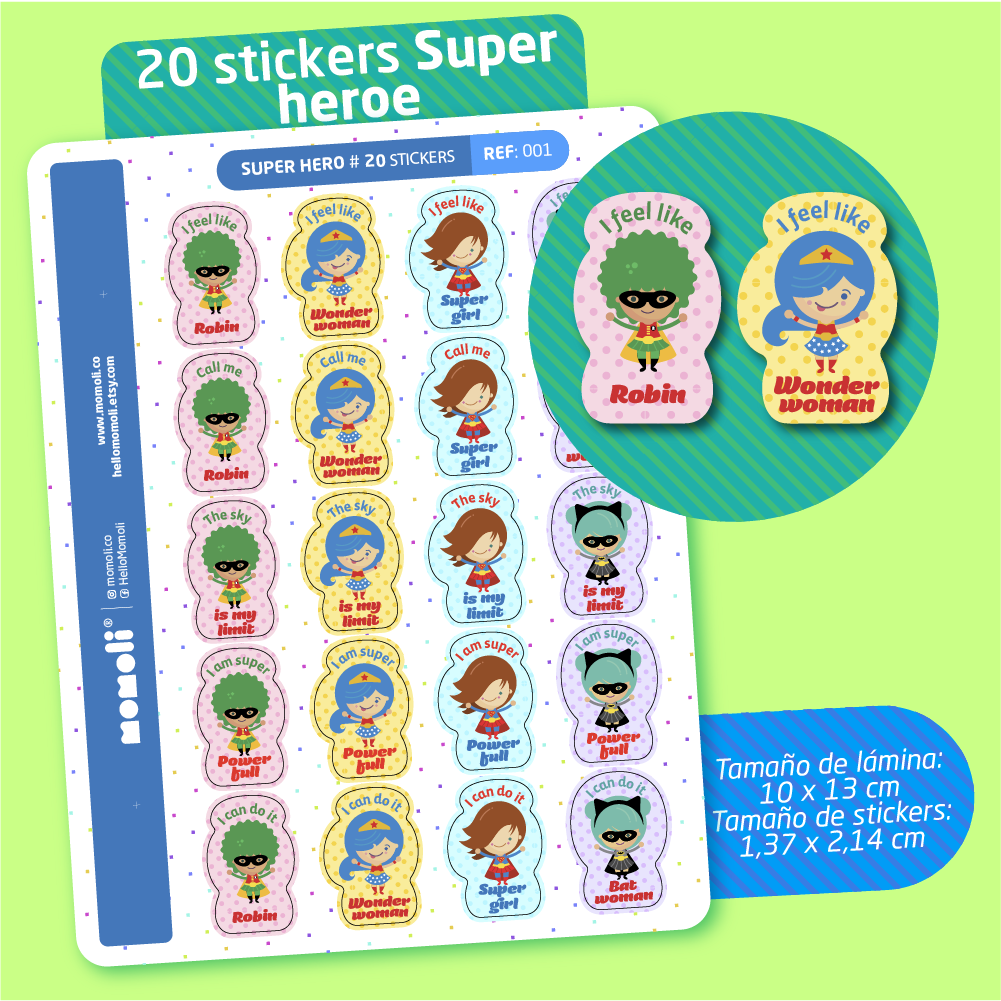 Lámina de stickers SUPERHÉROE (P001)