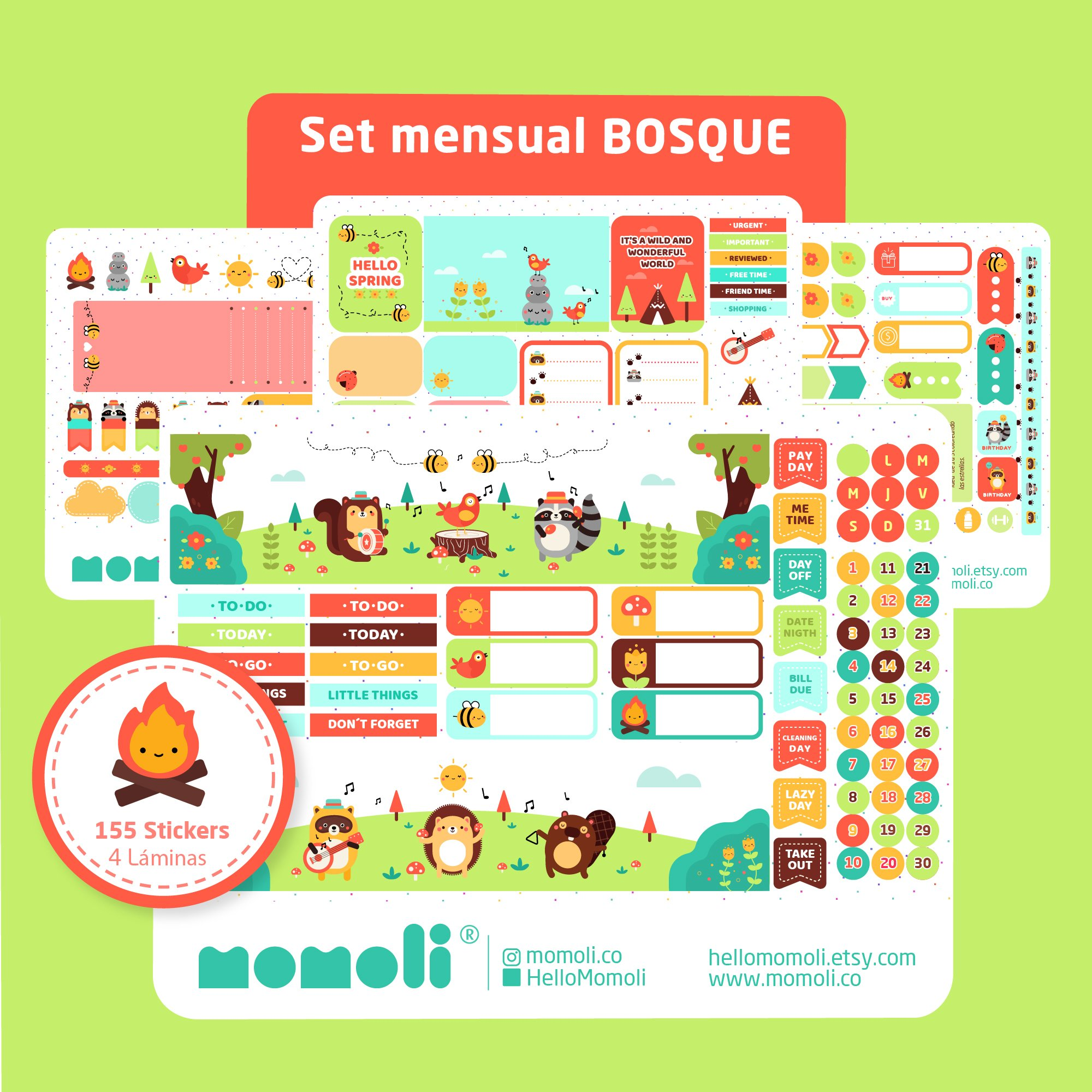 Set de stickers BOSQUE. Planner stickers (SM011)