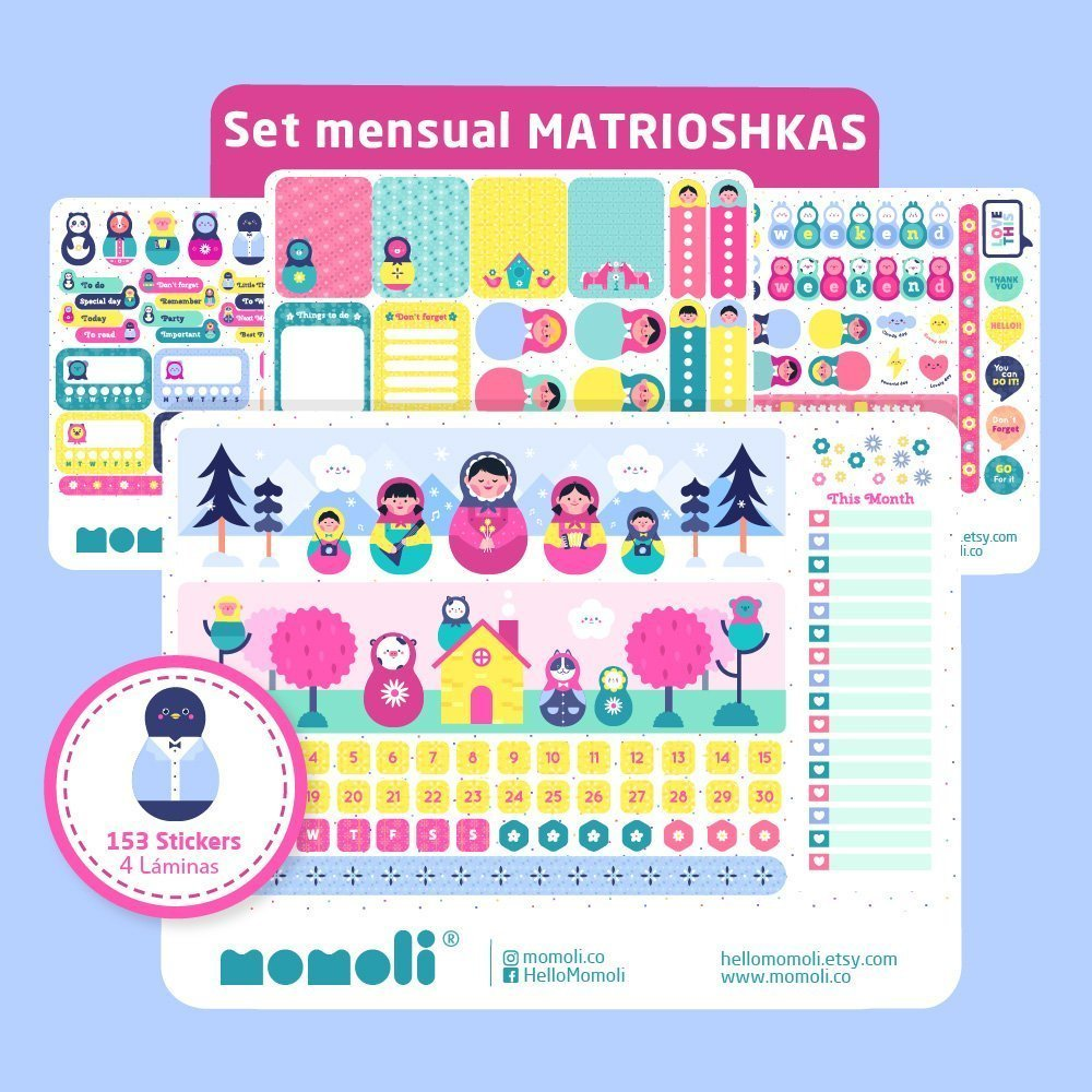 Set de stickers MATRIOSHKAS (SM014)